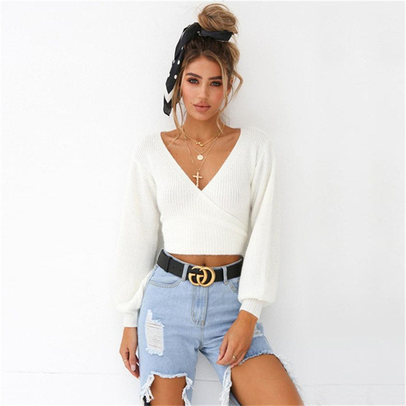 New Autumn Womens Sweaters 2019 Fashion Long Sleeve Sexy Deep V-Neck Slim Tops Female Casual Lace Up Back Bow Knit White Sweater image