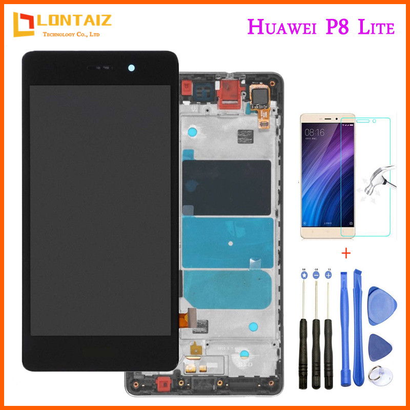Huawei P8 Lite LCD Display Touch Screen Digitizer Assembly With Frame Replacement ALE-L04 ALE-L21 For 5.0 Huawei P8 Lite LCD