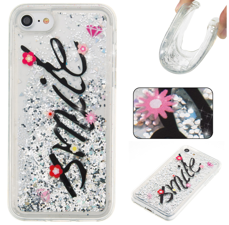 For iPhone Case For 4 4S 5 5S SE 6 7 8 x Puls Cover New Glitter Star Silver smile text Flower Quicksand Skin Silicon TPU Shell