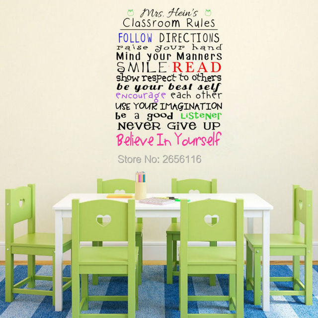 Personalized Classroom Rules Wall Decals Custom Any Teacher Name - Custom vinyl wall decals for classrooms