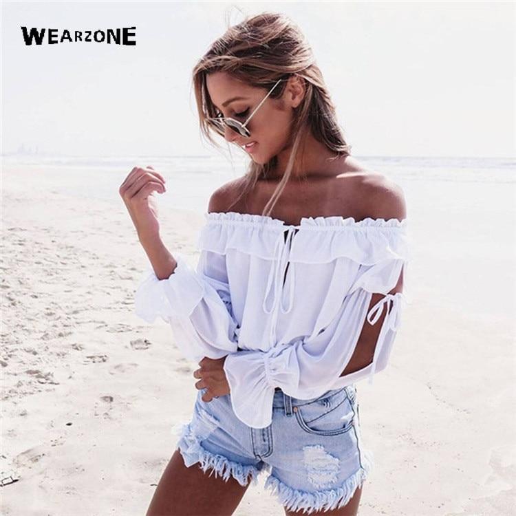 Tubo verano del hombro de la blusa Corta camiseta mujer tops blanco blusa de la