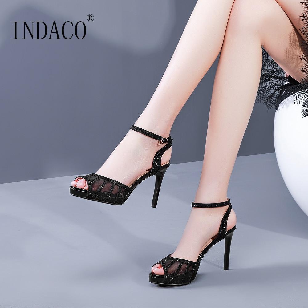 23bfdbb320cd16 Sandales argent En D'été Argent Plate Chaussures Noir Maille De forme Femmes  Hauts 9 Talons Noir Cm Cuir thdQrCs
