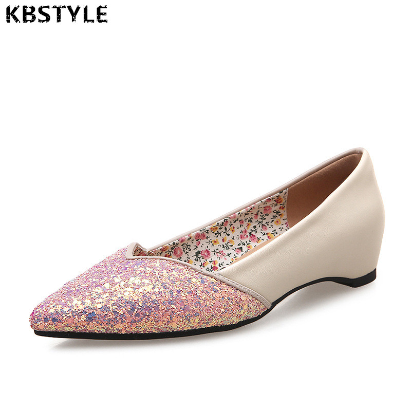 KBstyle Women Summer Shoes Fashion Rhinestones Women Flats Shoes Pointed Toe Footwear Casual Flats Femininos Flat Shoes kbstyle 2017 new spring shoes for women brand pointed toe womens flats fashion young ladies casual shoes hot sale wholesale