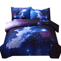 3D Galaxy Bedding Sets Twin Queen Size Universe Outer Space Themed Single Double Bed Linen Horse