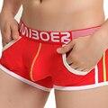 Hombres Sexy Cotton Boxer Shorts Medio Rise Transpirable Ropa Interior de La Bolsa Bolsillos Diseño Mens Boxers Calzoncillos de Algodón de Moda