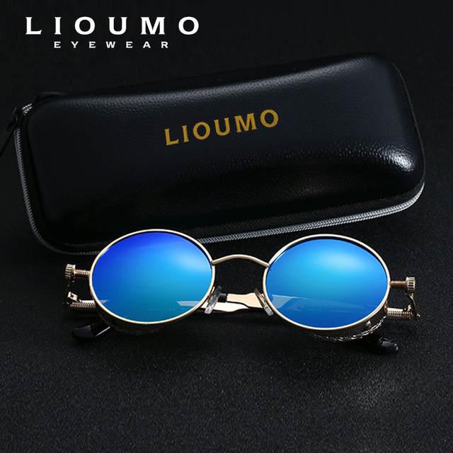 a211d26b00a77 LIOUMO Gothic Steampunk Rodada Óculos de Sol Das Mulheres Dos Homens  Polarizada HD Óculos De Sol