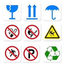 10pcs No Smoking Keep Dry Recycle No Parking PVC Removable Warning Logo Sign Sticker Window Wall Sticker Office Decor Car Decal цена и фото