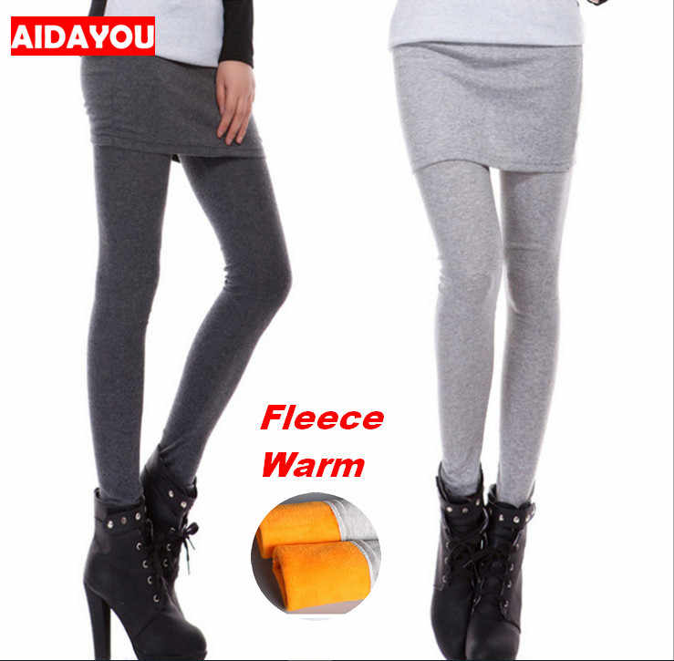 b4b9d30168a4 Skirt Leggings Girl Fleece Good Stretch Thick Lined Pants Sports Warm  Winter Plus Size Black White