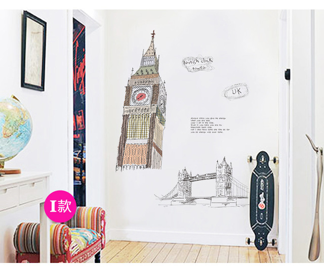 British Personalized Wall Stickers London Clock Tower Decals - Custom vinyl wall decals for classrooms