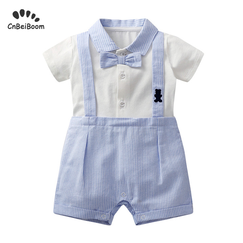 Baby   Rompers   Christening Baptism New Born Baby jumpsuit Newborn infant Clothes kids chird Gentleman Boy   Rompers   for birthday