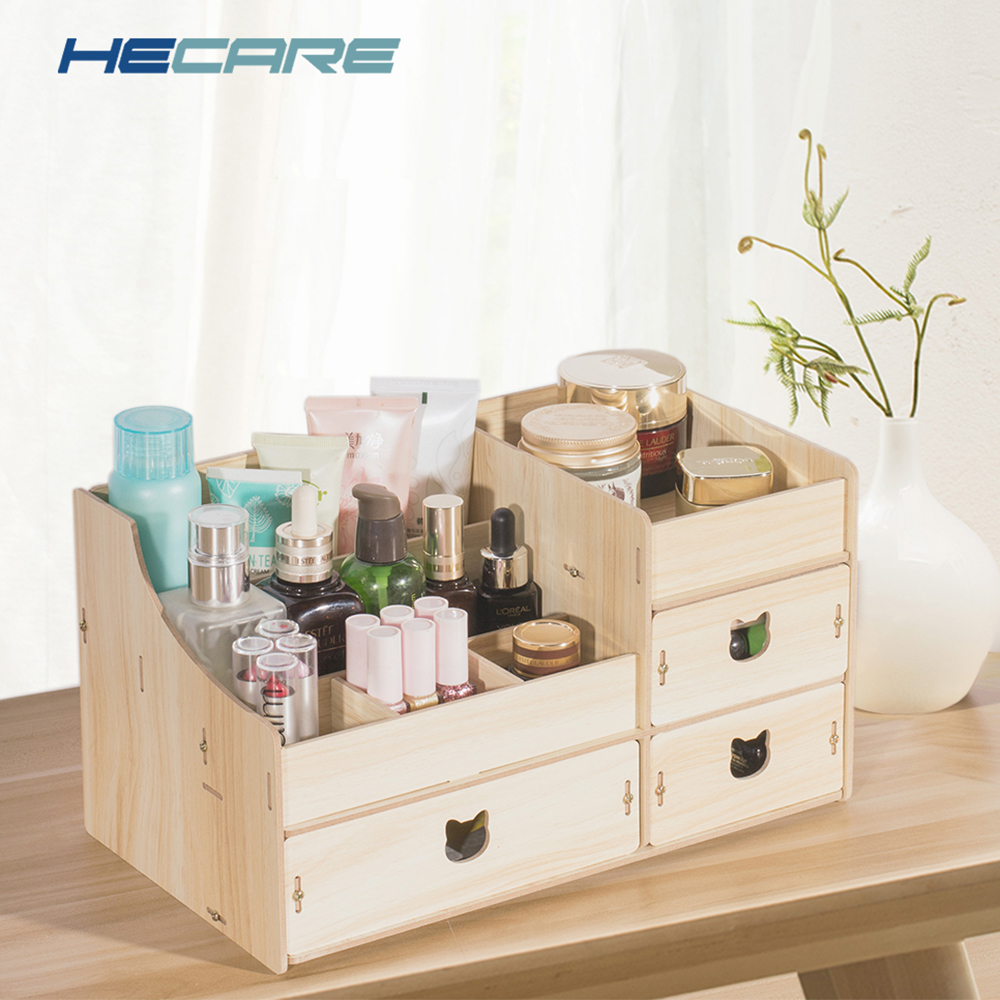 Decorative Multi functional Wooden Jewelry Box DIY Desk Sundries Storage Container Organizer For Cosmetic Makeup Storage