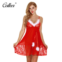 COLLEER 2017 Lace Fastion Christmas Red Polka Dot Set Sexy Panties Hot Sale Gauze Sleepwear Bra