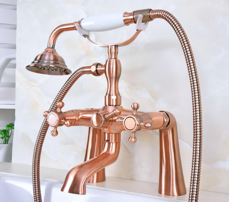 Antique Brass Clawfoot Bath Tub Faucet w//Hand Shower Deck Mount Dual Handles