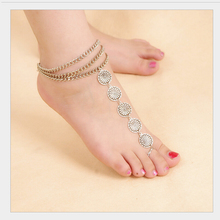 Vintage Flower Ankle Bracelet Chain Antique Silver Foot Chain Jewelry Barefoot Sandals Anklet For Women