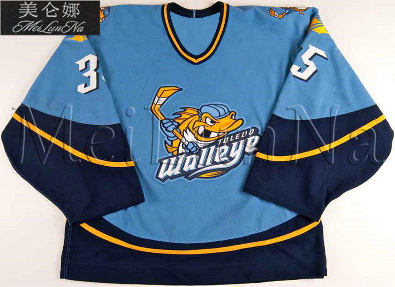 Customize ECHL Toledo Walleye 35 Jordan Pearce Jersey Road Blue1