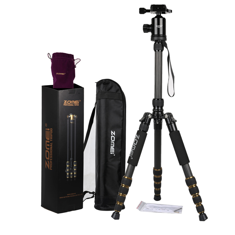 ZOMEI Z699C Carbon Fiber Alloy Portable Tripod Monopod with Ball Head Carry Bag Compact Travel for Digital SLR DSLR Camera qzsd q476 professional carbon fiber tripod monopod with ball head travel portable for slr camera