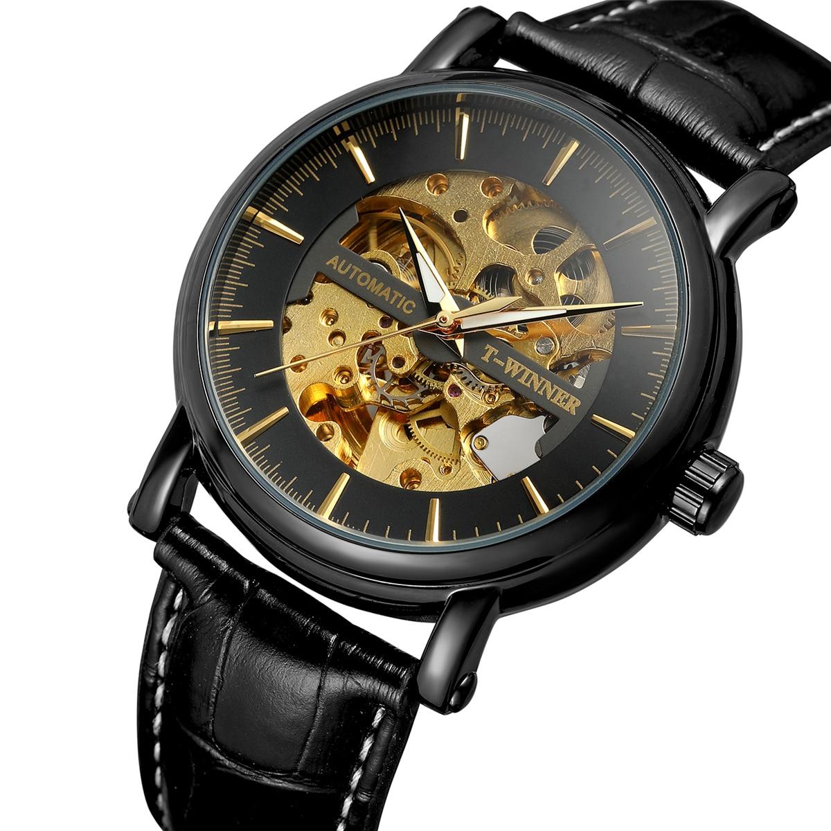 FORSINING nouveau noir hommes squelette montre-bracelet en acier inoxydable Antique Steampunk décontracté montres mécaniques homme