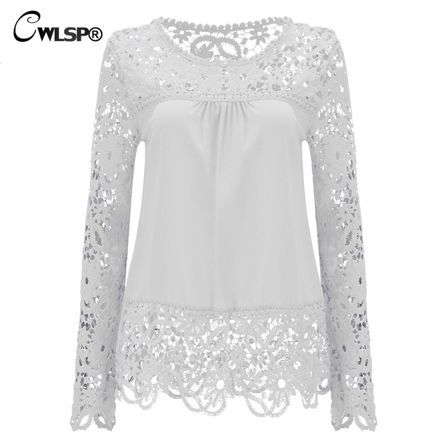 CWLSP Plus size Women Chiffon Blouses Shirts  Long Sleeve Tops Lace Blouses Hollow out Crochet Blusas Femininas 2017 Fashion 2