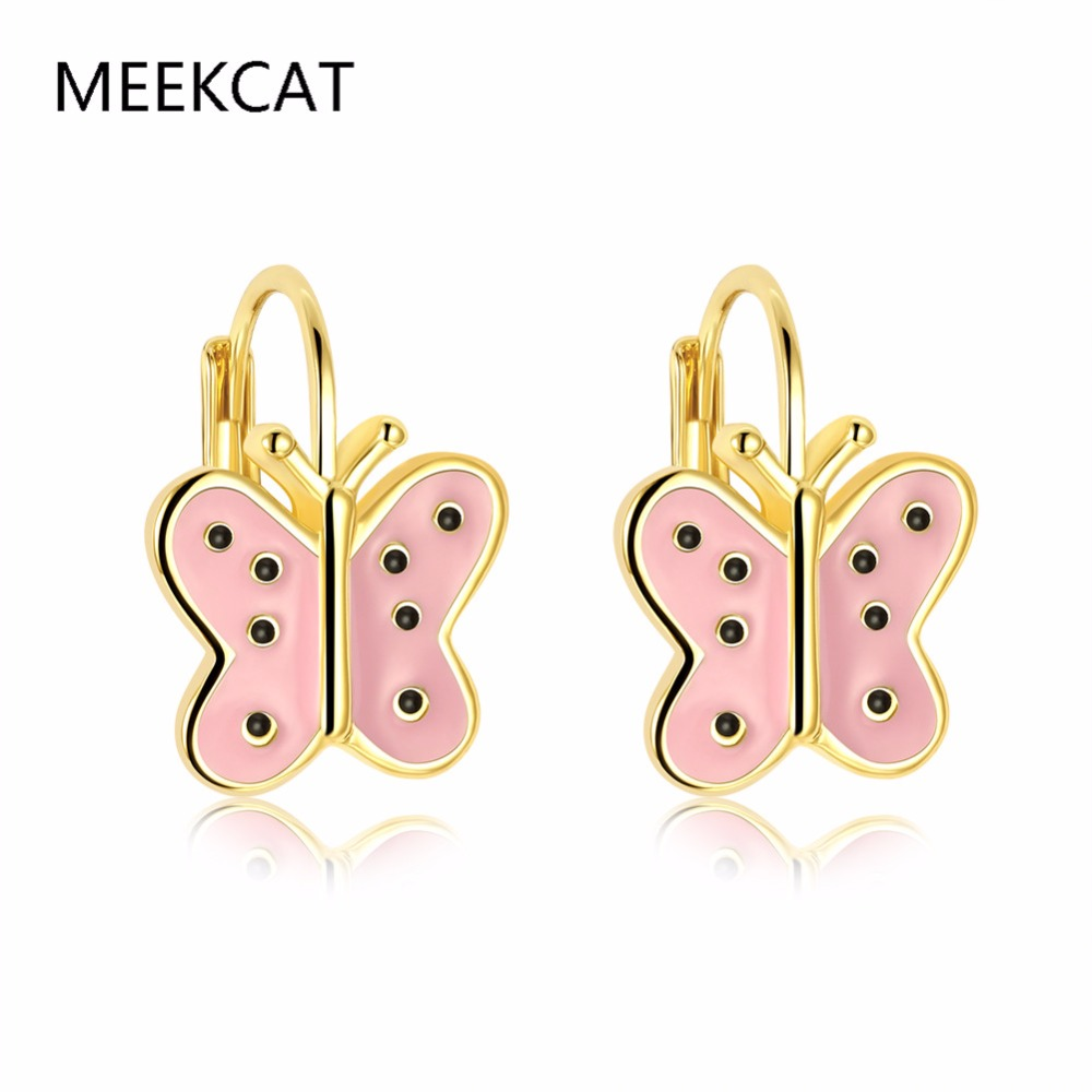 MEEKCAT 2017 hot sale Gold Color trendy purple and pink enamel butterfly animal stud earrings Brincos for baby girls