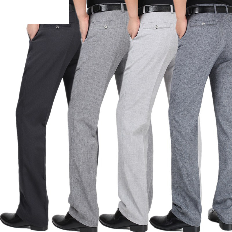 Spring Summer Suit Pants For Men Loose Men Dress Pants Classic Straight Formal Mens Business Thin Linen Trousers Size 30-42