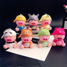 Hot 7 Colors Cute Funny Pig Led Keychains Flashlight Sound Creative Kids Toys Light Key Rings Jewelry Llaveros cute pig abs 2 led white light keychain w sound effect black pink 3 x ag10