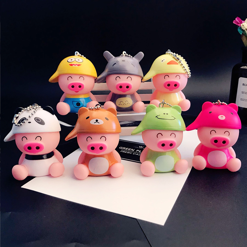 Hot 7 Colors Cute Funny Pig Led Keychains Flashlight Sound Creative Kids Toys Light Key Rings Jewelry Llaveros
