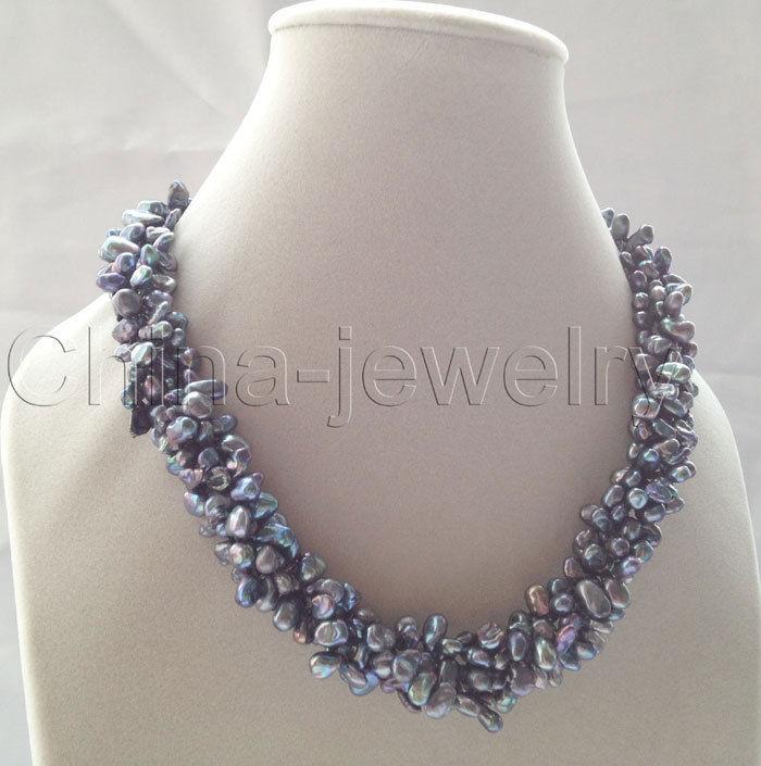 Collier de perles d'eau douce Keshi noir de P6014-18