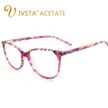 IVSTA Armações De Acetato Óculos Frame Ótico Miopia Óculos Vidros Do Olho  de Gato Mulheres Demi Oval Rosa Claro transparente Ret. 3387fc50da