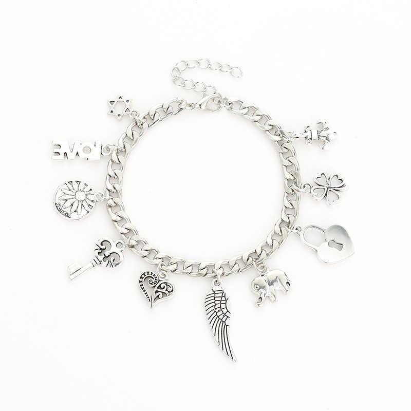 Avrupa ve amerika birleşik devletleri sıcak yaratıcı moda alaşım kolye galvanik antik gümüş bilezik üreticileri toptan