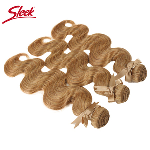 Image 5 - Sleek Mink Blonde Colored 27and 613 Brazilian Body Wave Remy Hair Weave Bundles 10 To 26 Inches Hair Extension Free Shipping