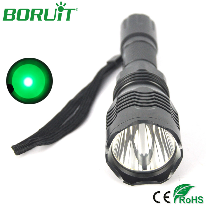 BORUiT XPE Q5 LED Flashlight Green Light Portable Camping Hunting Lantern Waterproof Outdoor Tactical Torch Light 18650 Battery