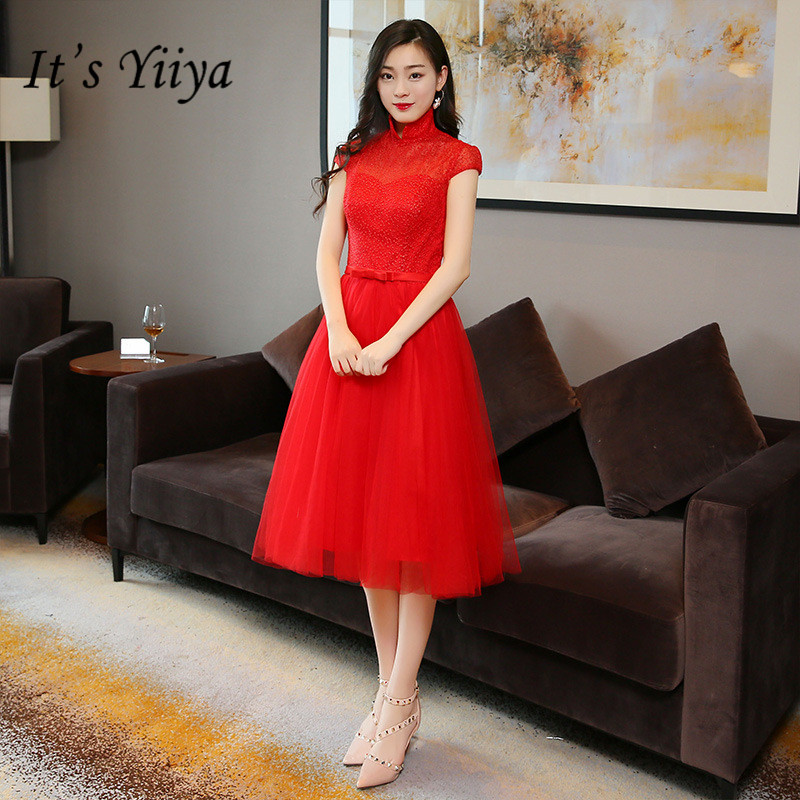 It's YiiYa New Red Sleevless   Bridesmaid     Dresses   Elegant Mesh Lace Slim A-line Knee-length Frocks H191