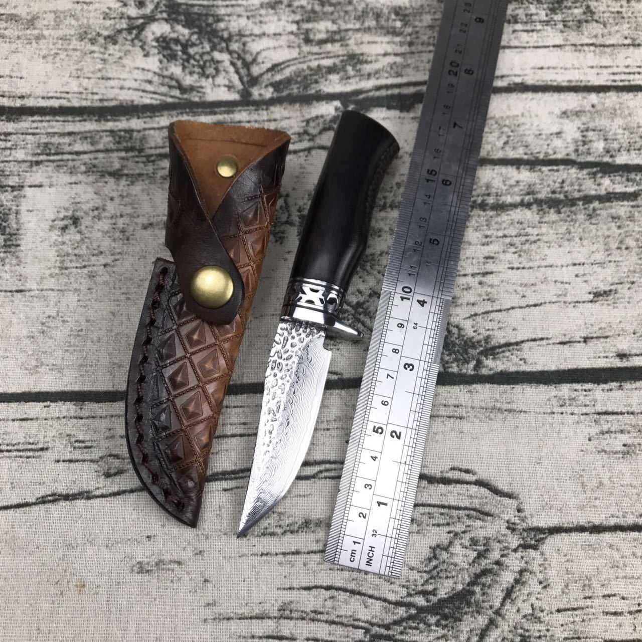 Swayboo damascus steel VG10 small hunting knife damask pattern fixed blade knife survival hunting tool ebony wood handle raindrops figure damascus pattern steel plate knife blade material produce diy tools non heat treatment non pickling