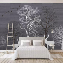 Creative wallpaper modern minimalism Nordic forest background wall professionally made mural photo