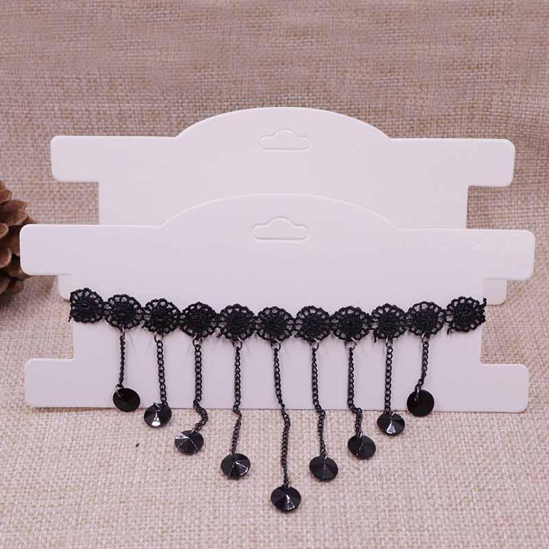 50 pcsDIY HOTNEW Kraft Chocker Necklace Display Card 3x7 Hair Band Clip Card White/Black 1lot =50pcs 300gsm Paper Cardboard