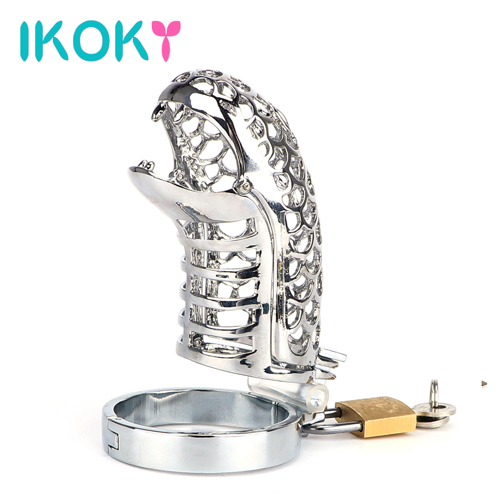 IKOKY Snake Totem Chastity Lock Belt Stainless Steel Penis Rings Male Chastity Device Cock Cage Sex Toys for Men Male Cock Rings stainless steel chastity belt penis rings sex toys for men sex products new double cock ring male chastity device