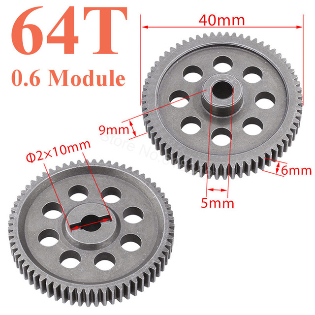 11184 Steel Metal Spur Diff Main Gear 64T Motor Pinion Gears 17T 21T 26T 29T 11189 11176 11181 11119 For RC HSP Redcat RC Truck