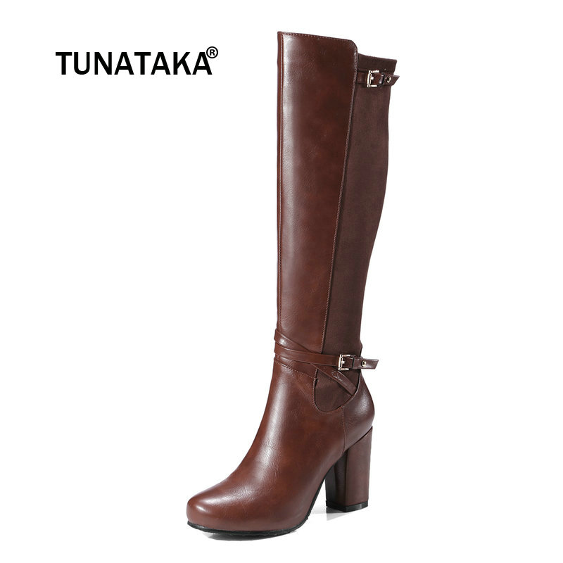 For Ladies Thick High Heel Side Zipper Knee High Boots Fashion Buckle Round Toe Winter Shoes