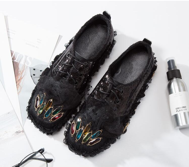 horse hair womens sneakers shoes 2018 fashion rhinestones women shoes flat lace autum spring leather genuine floral sneakers fashion horse hair tassels leather leopard pattern flat shoes black brown pair 37
