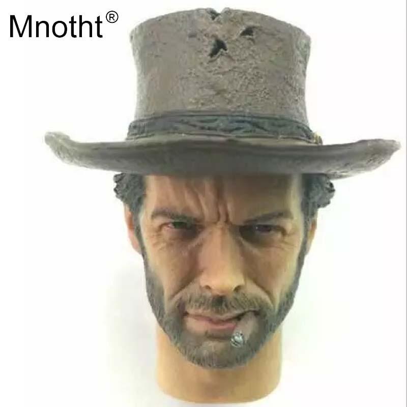 купить Mnotht 1/6 head carve testa sculpt clint eastwood for toy Cowboy Wear hat Dangling cigarettes Fit 12