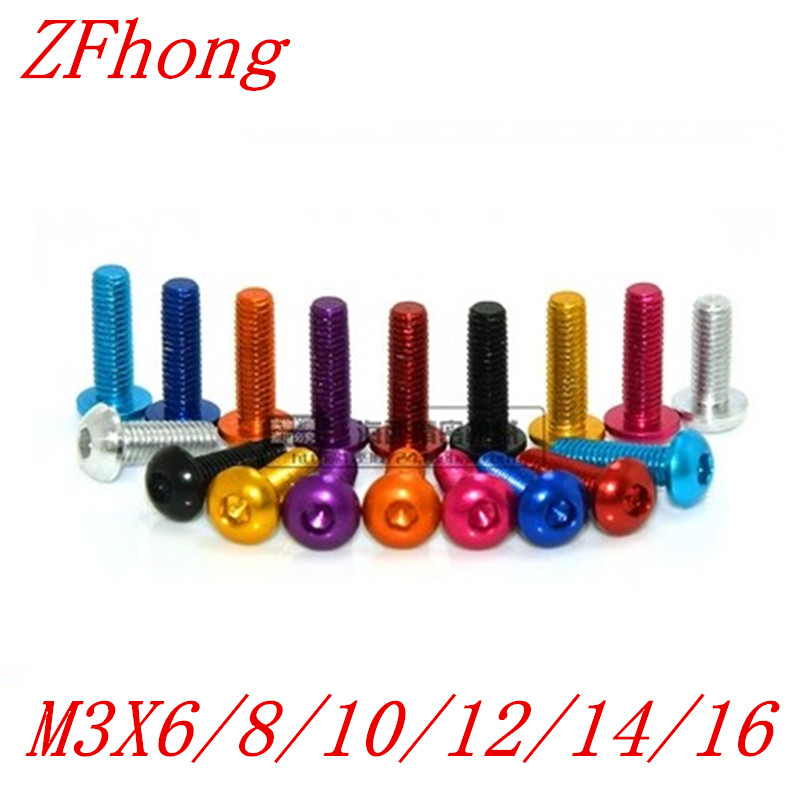 20pcs m3*6/8/10/12/14/16 aluminum alloy colourful hex socket button head screw 20pcs m3 6 m3 x 6mm aluminum anodized hex socket button head screw
