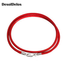 Jewelry Accessories Necklace Cord 1.5mm 2mm 3mm Black Leather Cord Wax Rope Chain Stainless Steel Lobster Clasp For DIY Necklace(China)