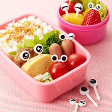 New 10PCs/ Lot Cute Plastic Fruit Toothpick Lovely Eye Cartoon Forks Bento Decorative Tableware Food Picks Fish Fork Dessert(China)