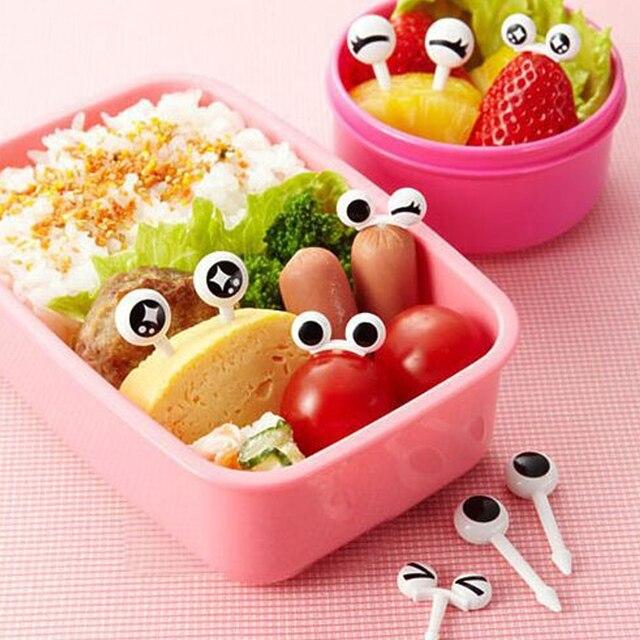 ¡Nuevo! 10 unids/lote de lindos palillos de dientes de Frutas de plástico ojo encantador tenedores de dibujos animados Bento vajilla decorativa palillos de comida pescado tenedor postre