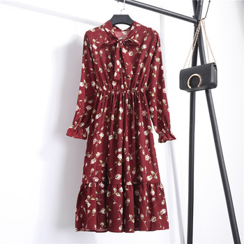 2019 Spring Women Dress For Ladies Long Sleeve Polka Dot Vintage Chiffon Shirt Dress Casual Black Red Floral Autumn Midi Dress 3