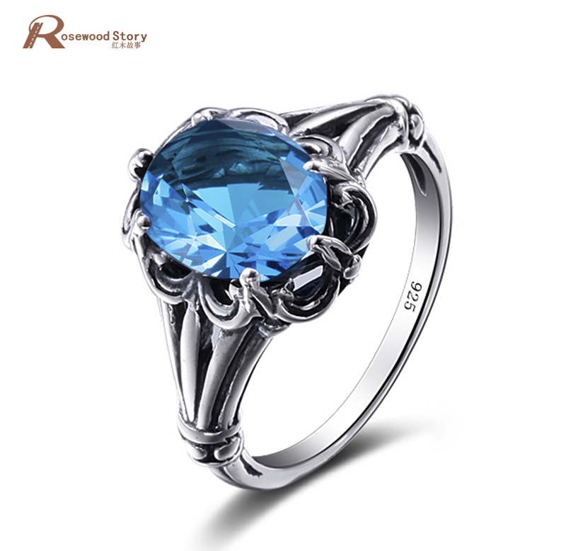 New Arrive Oval Cut Crystal Wedding Ring for Woman Wedding Fashion Jewelry Real 925 Silver Sterling Blue Rhinestone Vintage Ring