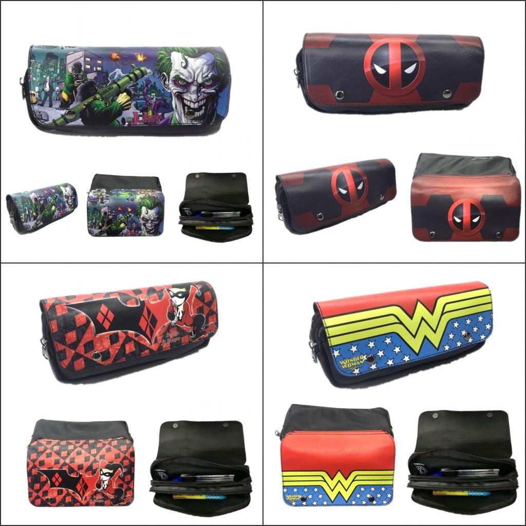 Hulk Marvel DC Avengers Justice League Superhero Cosplay Logo Pencil Case Zipper Student Stationery Bag Double Canvas Pencil Case Pen Bag