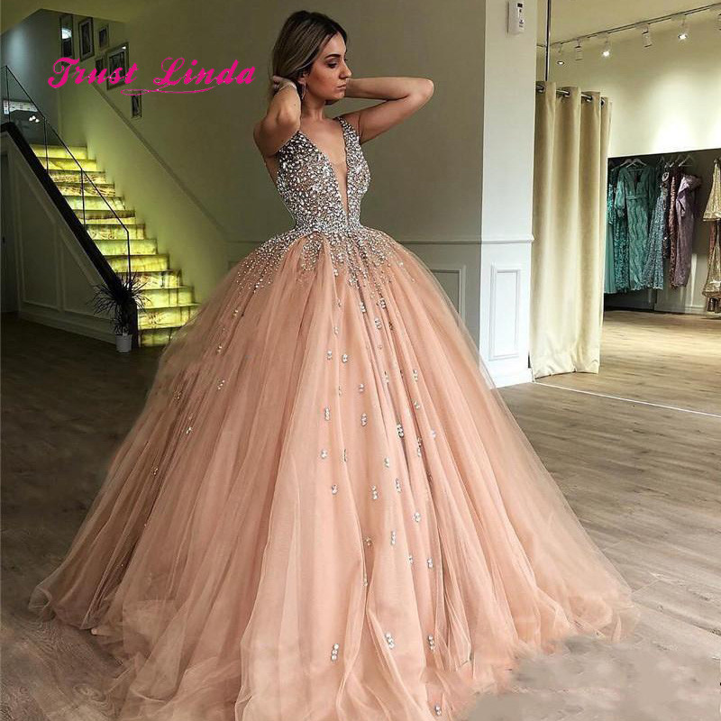 Champagne Beaded Wedding Guest Dress Deep V Neck Ball Gown Long Dress For Wedding Party For Woman Prom Dresses Bridesmaid Dresses Aliexpress