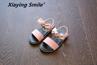 Xiaying улыбка сандалии для девочек детей Обувь Туфли без каблуков с закрытой пяткой летние сладкие Боути крюк и петля толстая подошва из мягко...