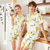 Printed Satin Silk Mens Pajamas High Quality Male Nightgown Sleepwear Summer Spring half Sleeves Pants 2 PCS Couples Pajama Set